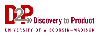 Logo that says: D2P, Discovery to Product, University of Wisconsin-Madison