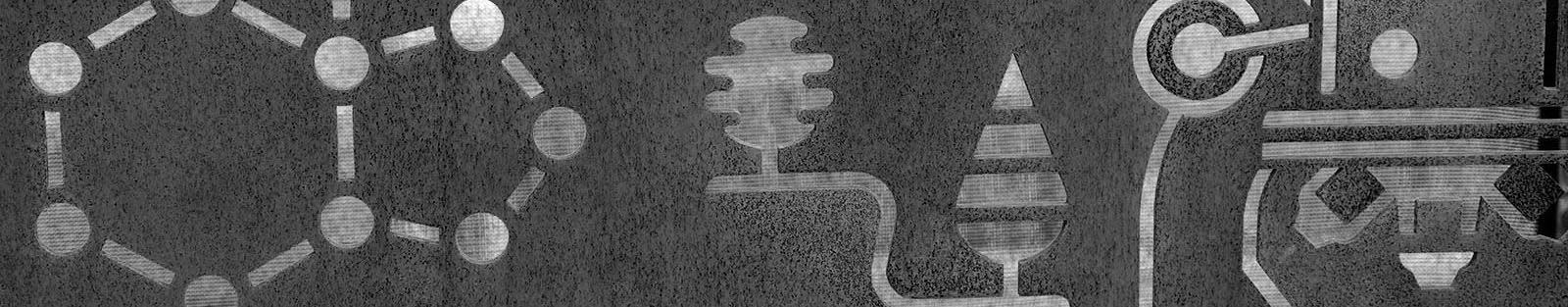 Vitamin D molecule depicted in steel art