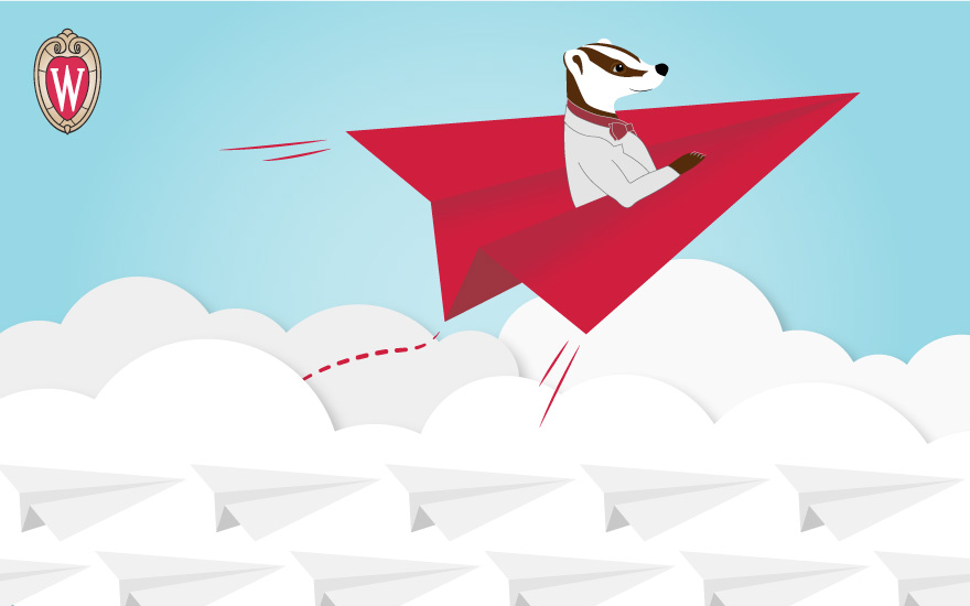 Illustration of Bucky Badger riding in a paper airplane over the clouds